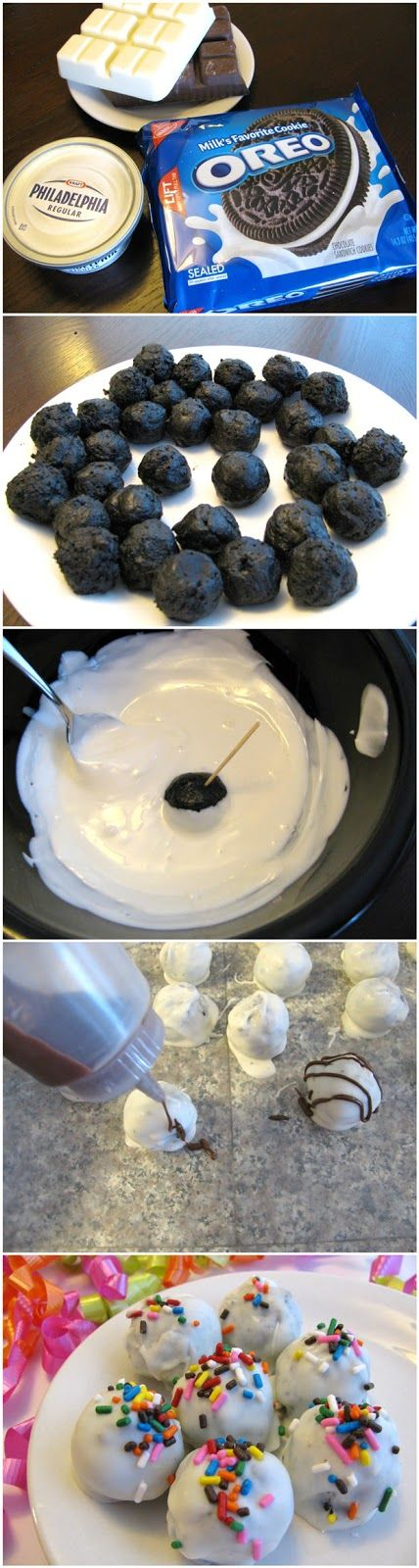Oreo Balls. So good and so easy. 1 package Oreos in the food processor, 1 package of softened cream cheese, mix together, form into 1inch balls and dip into melted white candy wafers. NOT (I repeat) NOT into melted chocolate. The dip must be runny enough or the Oreo balls will break.