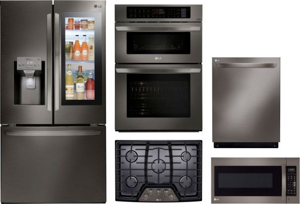 Lg 5 Piece Kitchen Appliances Package With French Door Refrigerator Dishwasher And Over The Range Microwave In Black Stainless Steel Black Stainless Steel Lgrectdwmw2009