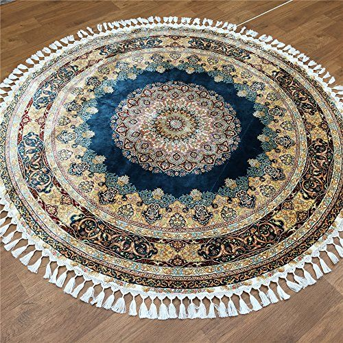 Blue Handmade Pure Silk Round Oriental Rugs By Camelcarpet On Etsy