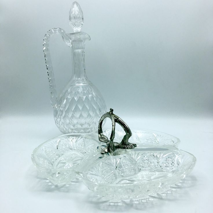 Serviteur apéritif mignardises en verre vintage France plat présentation anse en métal argenté plat service set en-cas lesinsolitesdenini de la boutique LesInsolitesdeNini sur Etsy