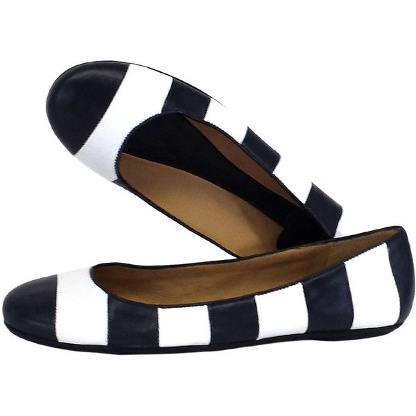 Pre-owned Kate Spade Isla Striped Leather Flats (1.403.985 VND) ❤ liked on Polyvore featuring shoes, flats, sapatos, kate spade, flat heel shoes, cushioned shoes, flat shoes, striped shoes and stripe shoes