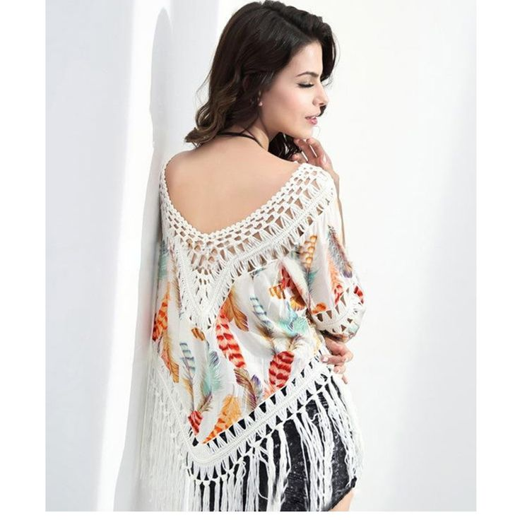 Swimwear Cover up Women Bathing Suit Wraps Crochet Bikini Smock Feather Print Ladies Beach Bikini Shirt Tops Tassels Blouses