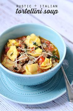 Hearty and flavorful, Rustic Italian Tortellini Soup is sure to please! Easy to make, and absolutely delicious!