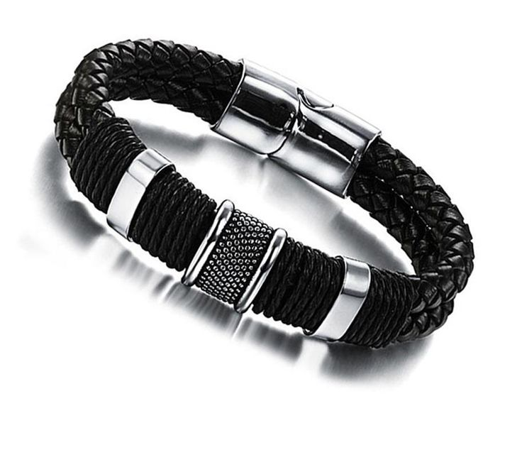 Braided  leather  bracelet. Magnetic buckle. stainless steel. Classic For man