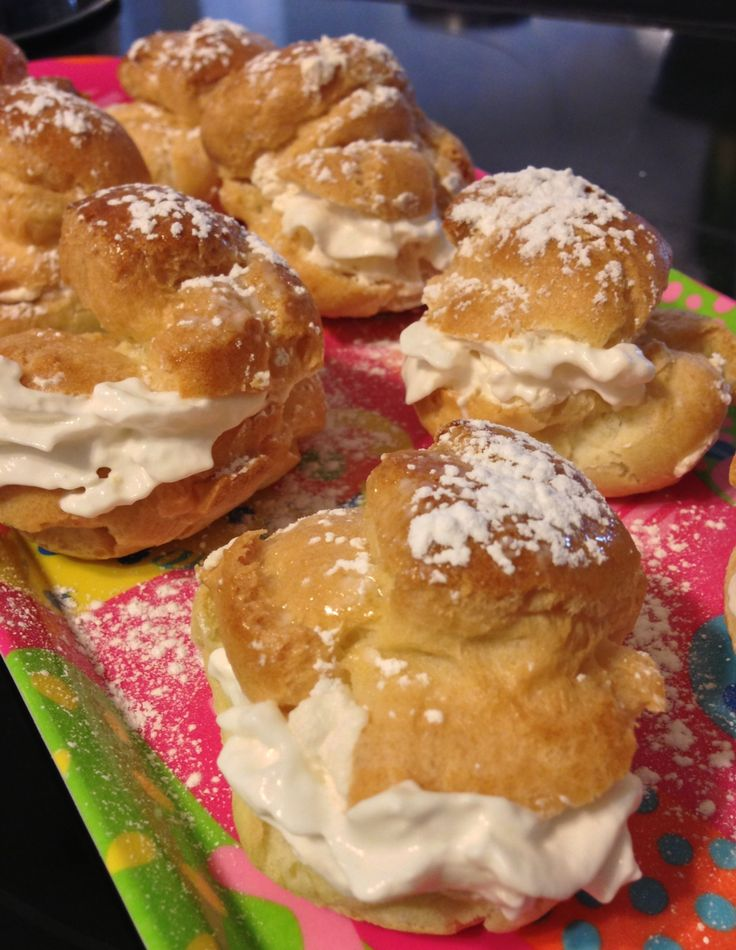old fashioned cream puffs - whipped cream centers