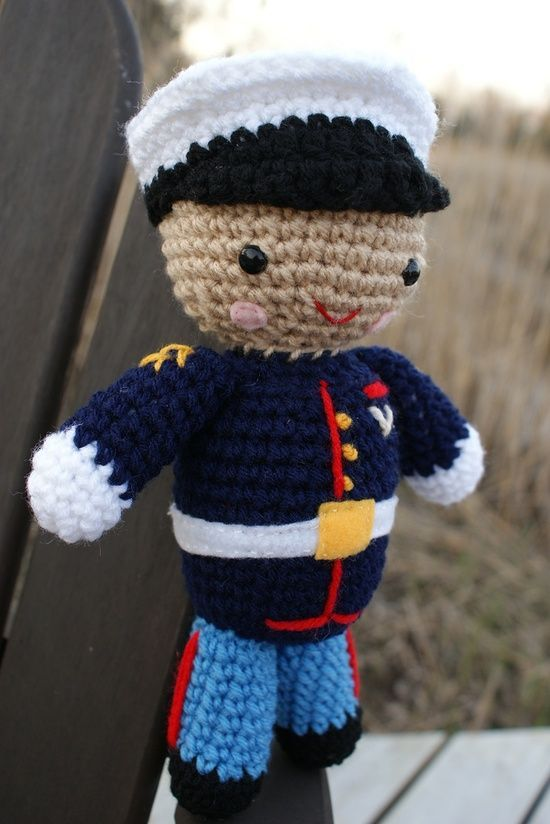 Crochet Marine..no pattern but can't be too hard, right? Could also do Army, Navy, Coast Guard, police, etc.