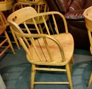 Vintage Boling Chair Co Solid Oak Firehouse Captains Chair