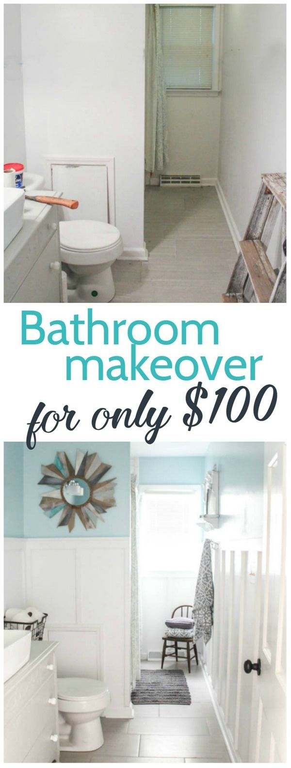 modern farmhouse bathroom, inexpensive bathroom makeover, vintage modern bathroom, board and batten, diy bathroom renovation, blue and white bathroom