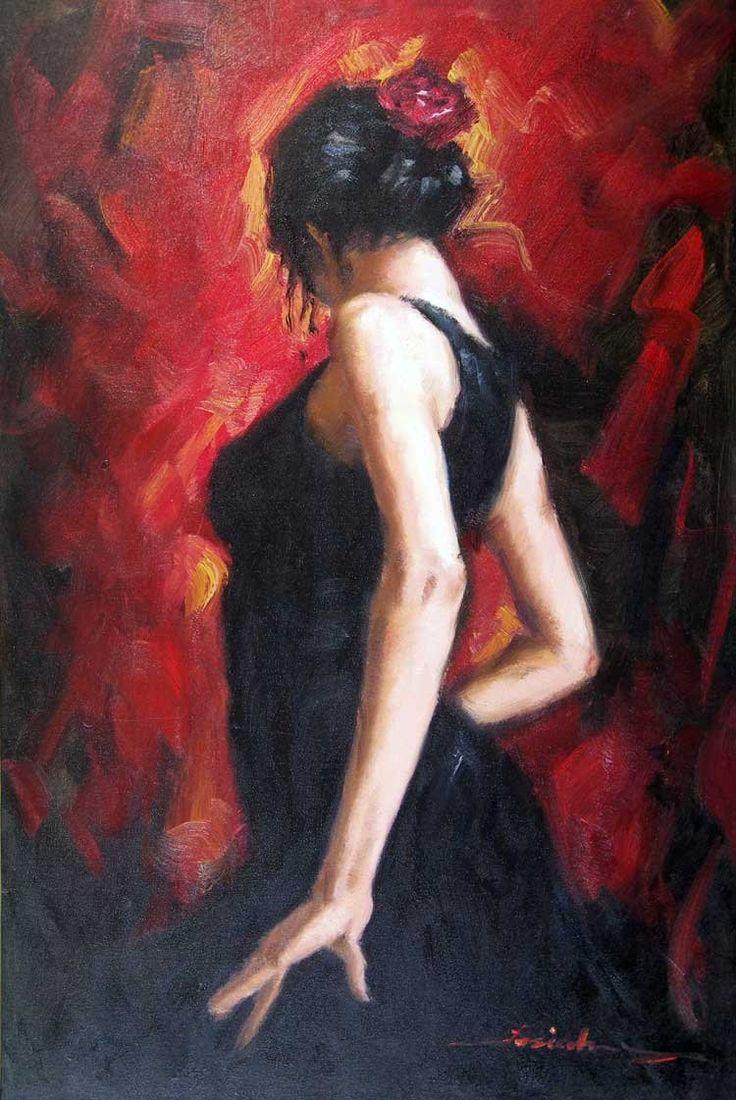 Gypsy Art Nouveau Women | Grande peinture à lhuile de danseur de femme gitane espagnole de ...