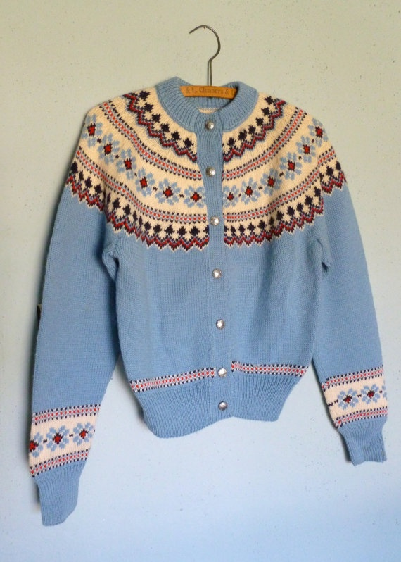 Vintage Ski Sweater with Nordic Pattern Around Shoulders.