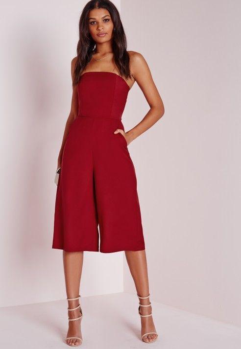 Bandeau Culotte Jumpsuit Red - Culotte - Jumpsuit - Missguided