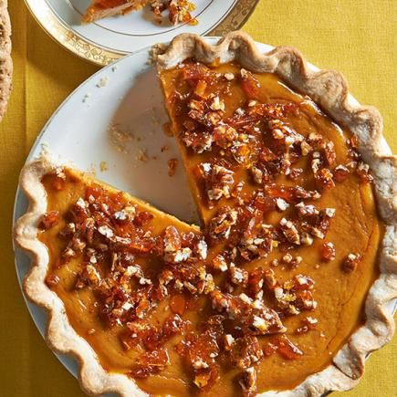 Maple Pumpkin Pie with Salted Pecan Brittle: A second slice is hard to resist! Recipe: http://www.midwestliving.com/recipe/maple-pumpkin-pie-with-salted-pecan-brittle/