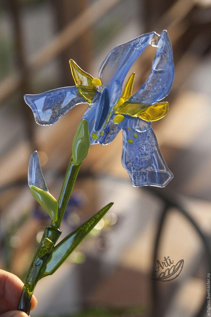 Купить Букет Ирисов из цветного стекла - букет ирисов, витраж Фьюзинг, декор из стекла