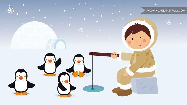 Otro de los puzles de la App infantil que nos encargaron. En esta ilustración un esquimal y unos preciosos pingüinos.
