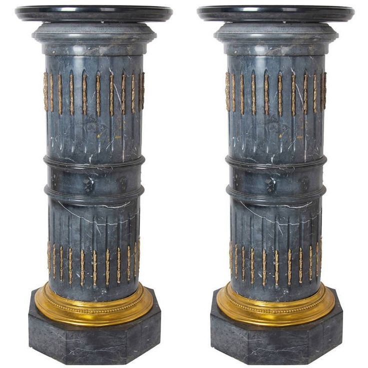 Pair Of 1stdibs Marble Ormolu-Mounted French Pedestals / Columns