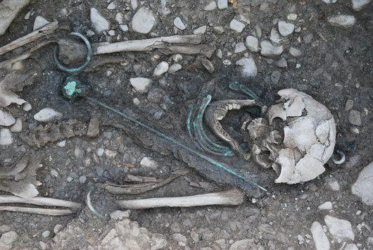 Quatre torques et une épingle en bronze viennent compléter la tenue funéraire d'une jeune femme