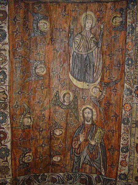 Biserica de lemn din Deseşti, judeţul Maramureş - Bolta naosului: Maria Orantă, Iisus Învăţător şi îngeri