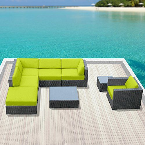Luxxella Outdoor Sofa Set Beruni 8 Pcs Modern Peridot Furniture All Weather Wicker Sofa Set Luxxella