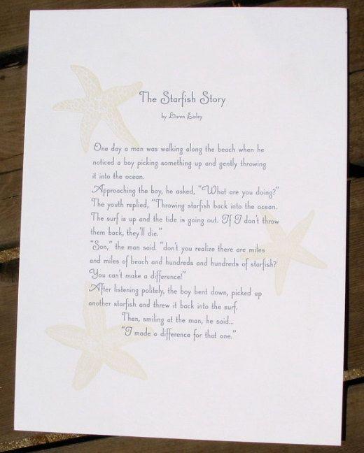 The Starfish Story, letterpress printed broadside