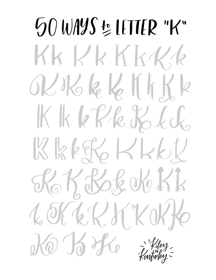 """50 ways to write the letter """"K"""""""