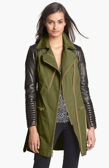 Rebecca Minkoff 'Kiefer' Mixed Media Trench Coat available at #Nordstrom