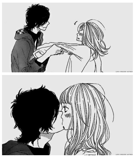 take girl arms in hands and pull her close to kiss her lips tumblr cute anime couple surprize lips kissing