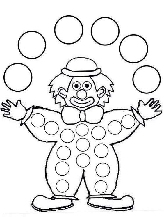 Картинки раскраски клоун с шарами
