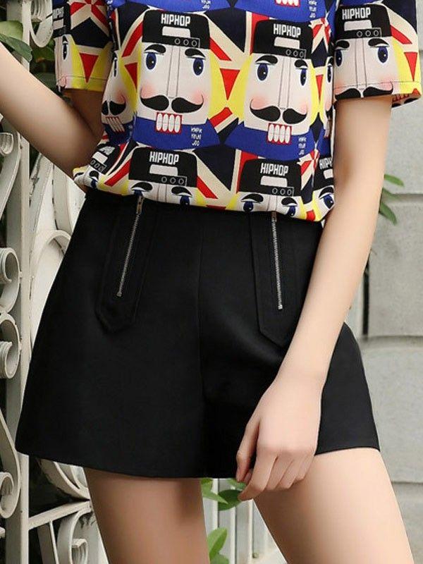 Solid Color Zipper Decoration Fashion Shorts - Pants $17.00 - Bottoms