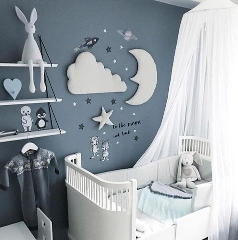 3pcs Nordic Style Moon Cloud Star Kids Room Decoration 3D Wall Decor