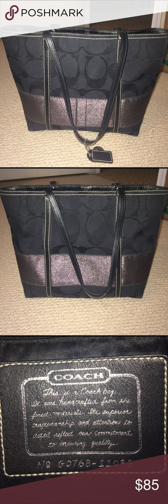 Black and silver Coach tote Black Coach bag with silver accents. Great day bag. Over the shoulder bag. Coach Bags Shoulder Bags