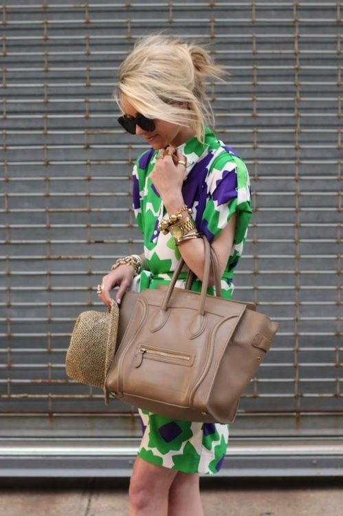 love the bold print and the neutral celine bag: Spring Dresses, Fashion Dresses, Style, Celine Bags, Fabulous Handbags, Bold Prints, Outfit, The Dresses, Green Dresses