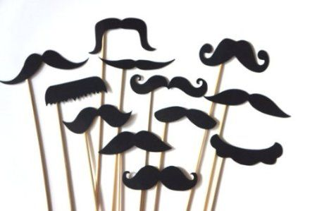 12 BLACK Mustaches on a Stick - Photo booth Props