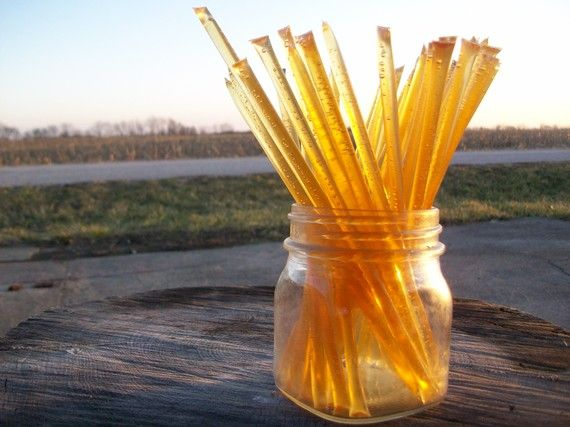 Honey Sticks -Pure Raw Summer Honey - 25 honey filled straws. $6.00, via Etsy.