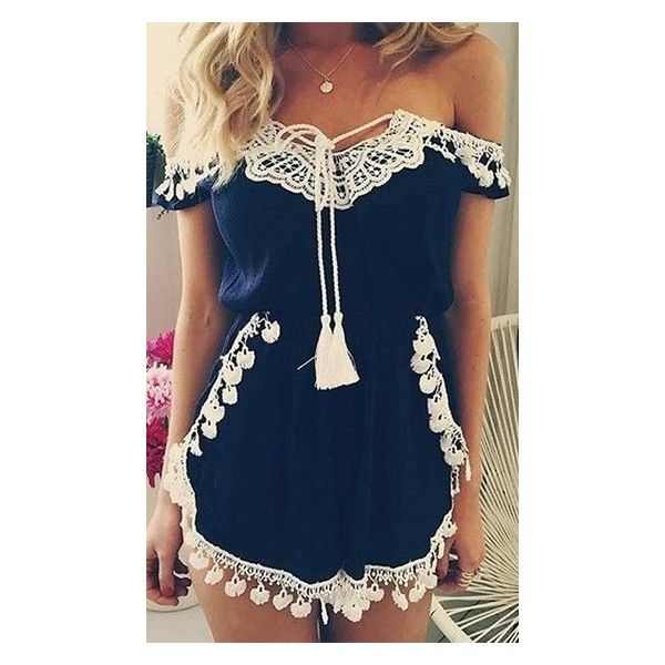 Home Sweet Home Blue White Lace Fringe Trim Off The Shoulder Romper... ($88) ❤ liked on Polyvore featuring jumpsuits, rompers, playsuit romper, off the shoulder romper, off shoulder romper and blue and white romper