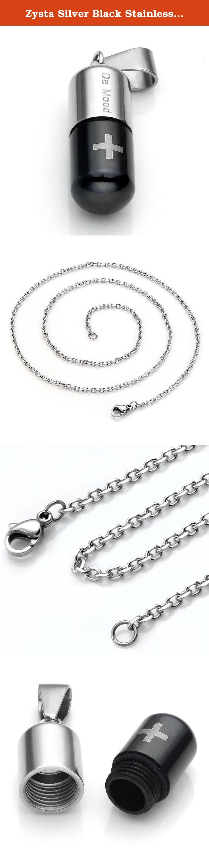 """Zysta Silver Black Stainless Steel Cross Pill Storage Container Pendant Necklace with Curb Cable Link Chain (18"""" - 26"""" Available). Pendant Arrives With a Complimentary Silver Stainless Steel Chain. Please choose the suitable length of chain. Material: Stainless Steel. Pendant Size: 1""""(24MM) H x 3/8"""" (10MM) W; inner Diam:6MM. Chain Width:2MM; Chain Length: 20""""(Note: The Choice Box refers to the Chain Length, Pendant Length Not Included.). For the pendant,you can put pills, hair etc as you..."""
