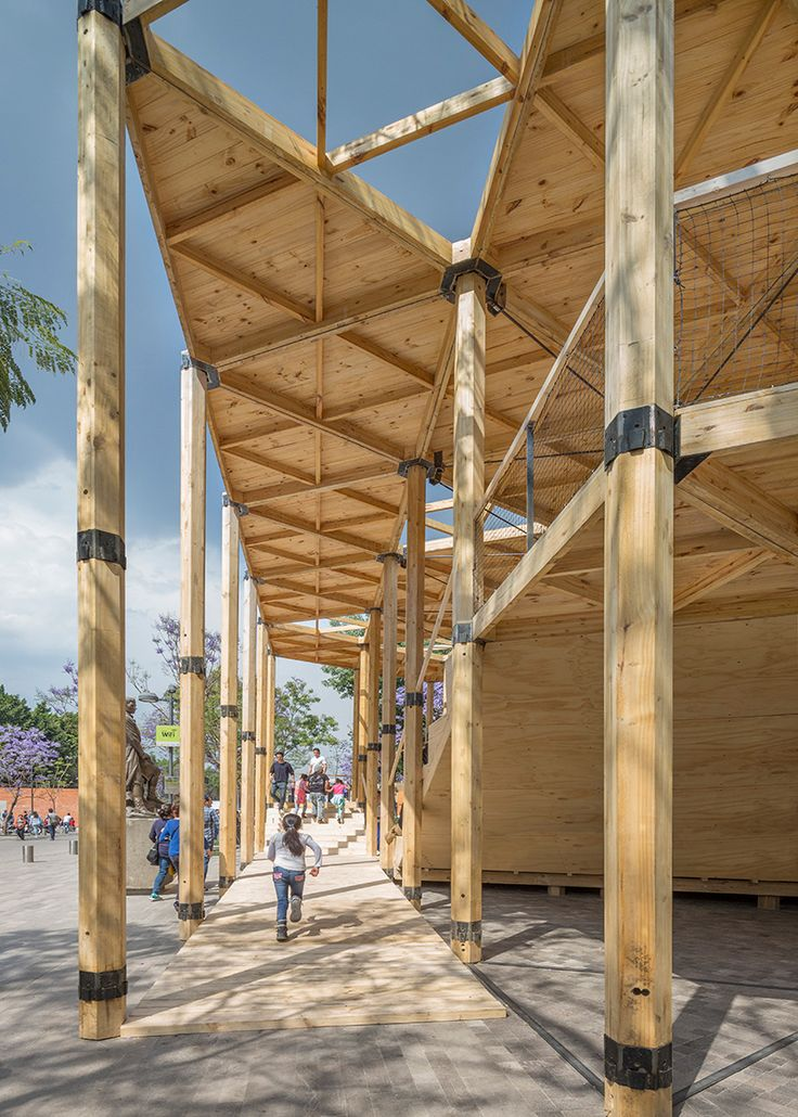 in mexico city, dellekamp arquitectos has erected a temporary pavilion that celebrates 70 years of diplomatic relations between switzerland and mexico.