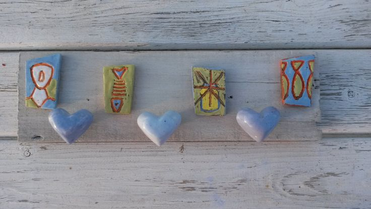Handmade Rustic Driftwood Wallhanging Organiser With Ceramic Tiles and Knobs in Greek Style by WillyaCollection on Etsy
