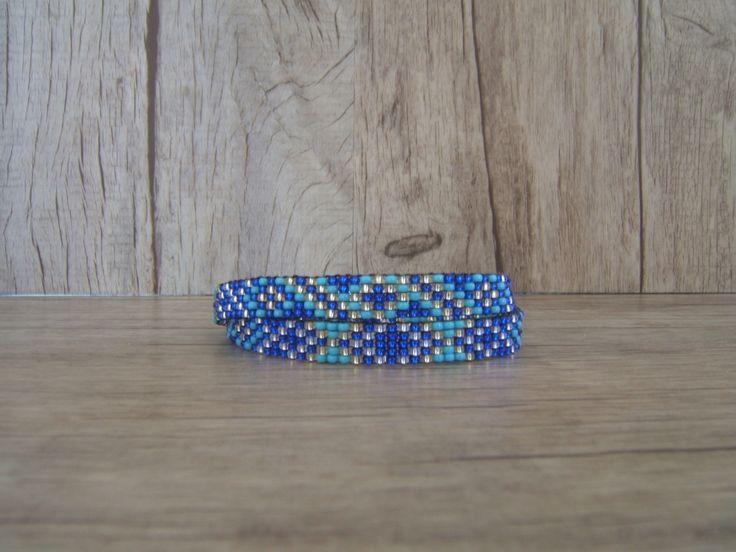 2 en 1 Bracelet 2 tours / Collier Ras du cou, Choker, Collier, tissé Bleu Saphir : Collier par emma-shop
