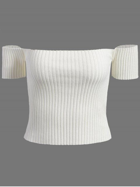 Off The Shoulder Rib Knit Crop Top - WHITE ONE SIZE