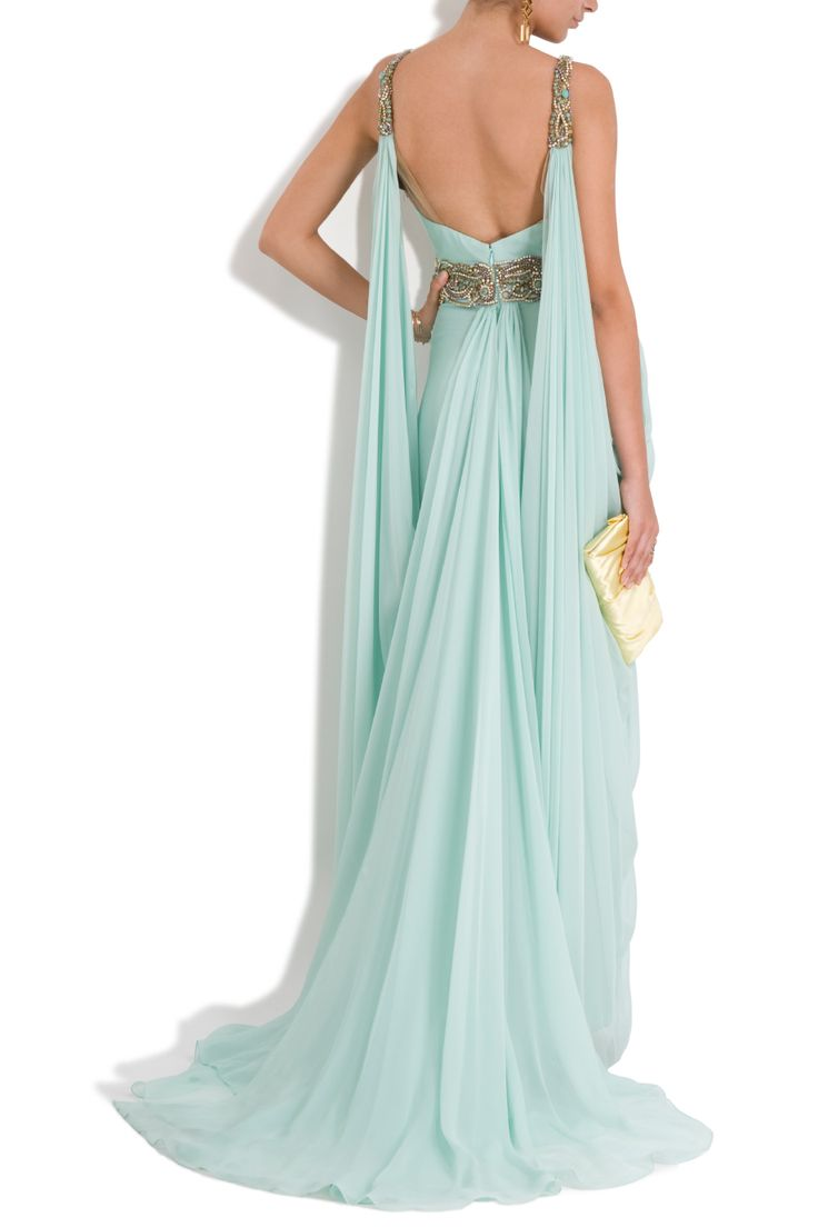 Marchesa Chiffon Embellished Grecian Gown in Blue (mint) | Lyst