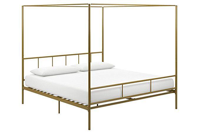 Novogratz 4195249n Marion Canopy Bed King Gold Headboard And