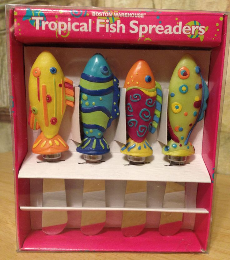1999 Boston Warehouse Tropical Fish Stainless Cheese Spreader Set of 4 12706 #BostonWarehouse