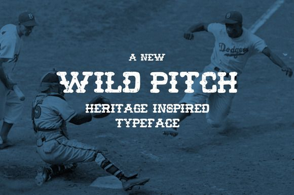 wild pitch by boldversion on Creative Market. It comes with 2 variants of the uppercase letters. One is rough and gritty the other is smoother and it's cleanup up bit. They can be use together to get more variations. #free #font for this week.