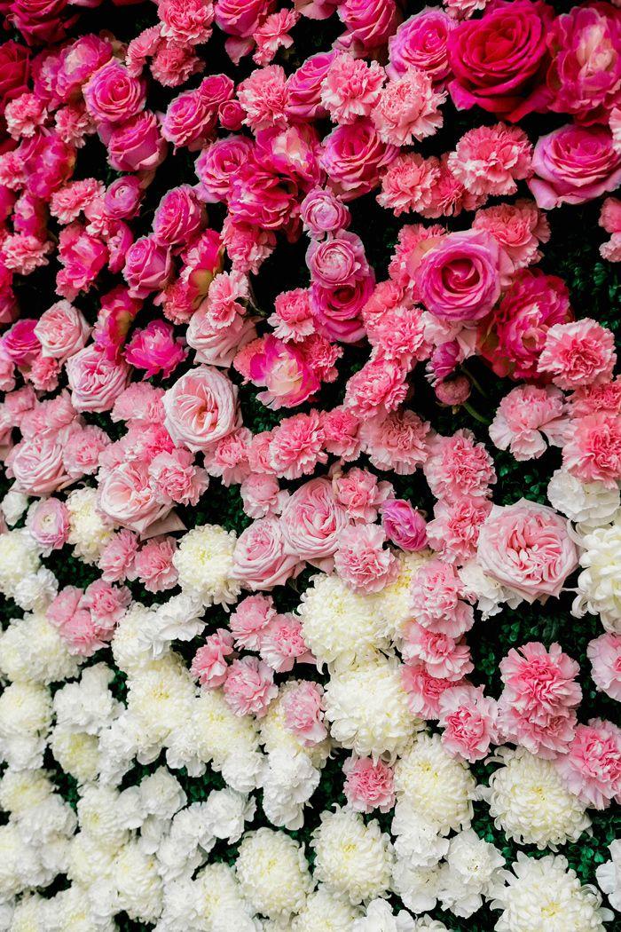 Kate Spade Inspired Ballroom Wedding | flower wall backdrop