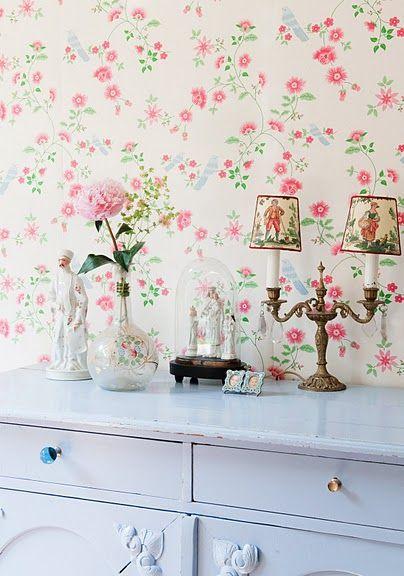 Behang Room Seven Bird Branches Wit Verkrijgbaar bij www.behangwebshop.nl  Behangset gratis Met gratis lijm, zonder verzendkosten!!!