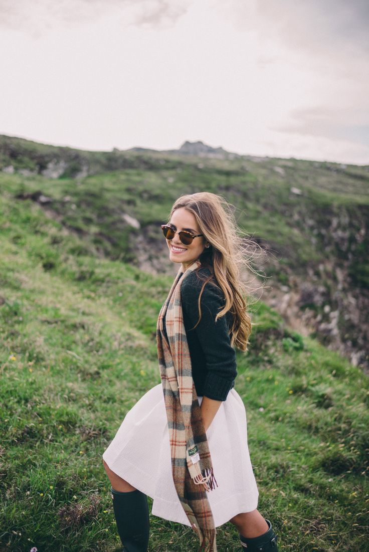 Gal Meets Glam Gap of Dunloe & Dingle - Serena & Lily dress, Dubarry sweater, scarf from Ireland, Hunter Boots and Ray Ban sunglasses