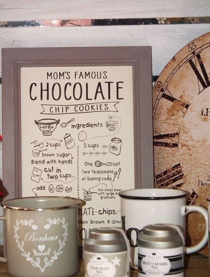 Plechová dekorativní cedule s receptem na domácí čokoládové sušenky. http://www.Niels-Decor.cz