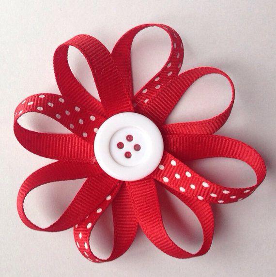 Red polka dot hair bow on Etsy, $3.49