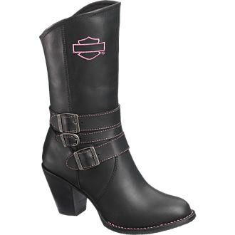 """Description: Full grain leather upper. Full cushion sock lining. Shaft height 9""""; Heel height 3.0"""". YKK(R) locking inside zipper. Rubber outsole. Goodyear(R) welt construction. Delivery: September 15, 2013. Note: A portion of the proceeds from the sale of every Harley-Davidson(R) MotorClothes(R) Pink Label purchase will be donated to help fund Breast Cancer support groups Stock Number: D87024 Size Range: M 5-10,11"""