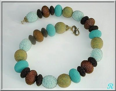 Another bead crochet necklace from Ricki.  Elegant, and wonderful for summer.